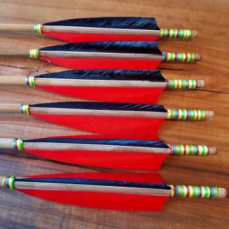 Bambuspfeil 6er Set - Rainbow red/black